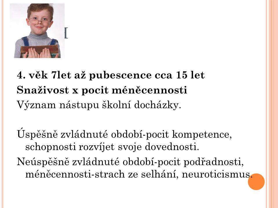 E RIK H 4. věk 7let až pubescence cca 15 let Snaživost x pocit méněcennosti Význam nástupu školní docházky. Úspěšně zvládnuté období-pocit kompetence,
