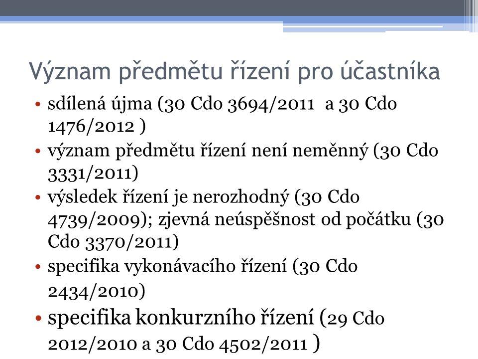 Význam předmětu řízení pro účastníka sdílená újma (30 Cdo 3694/2011 a 30 Cdo 1476/2012 ) význam předmětu řízení není neměnný (30 Cdo 3331/2011) výsledek řízení je nerozhodný (30 Cdo 4739/2009); zjevná neúspěšnost od počátku (30 Cdo 3370/2011) specifika vykonávacího řízení (30 Cdo 2434/2010) specifika konkurzního řízení ( 29 Cdo 2012/2010 a 30 Cdo 4502/2011 )