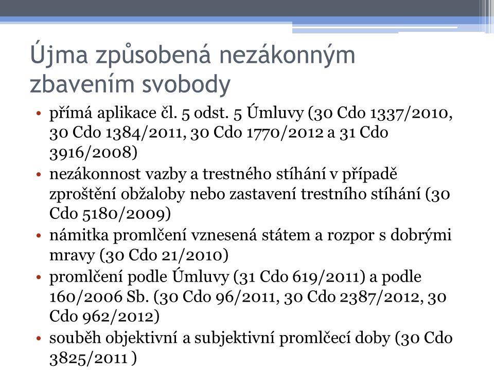 Újma způsobená nezákonným zbavením svobody přímá aplikace čl.