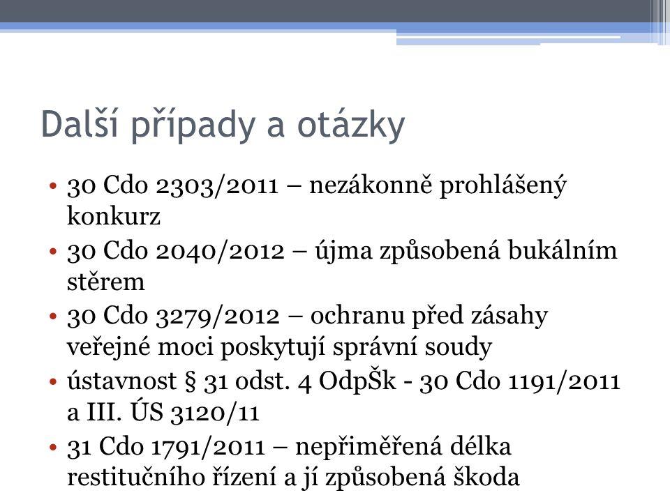 Další případy a otázky 30 Cdo 2303/2011 – nezákonně prohlášený konkurz 30 Cdo 2040/2012 – újma způsobená bukálním stěrem 30 Cdo 3279/2012 – ochranu před zásahy veřejné moci poskytují správní soudy ústavnost § 31 odst.