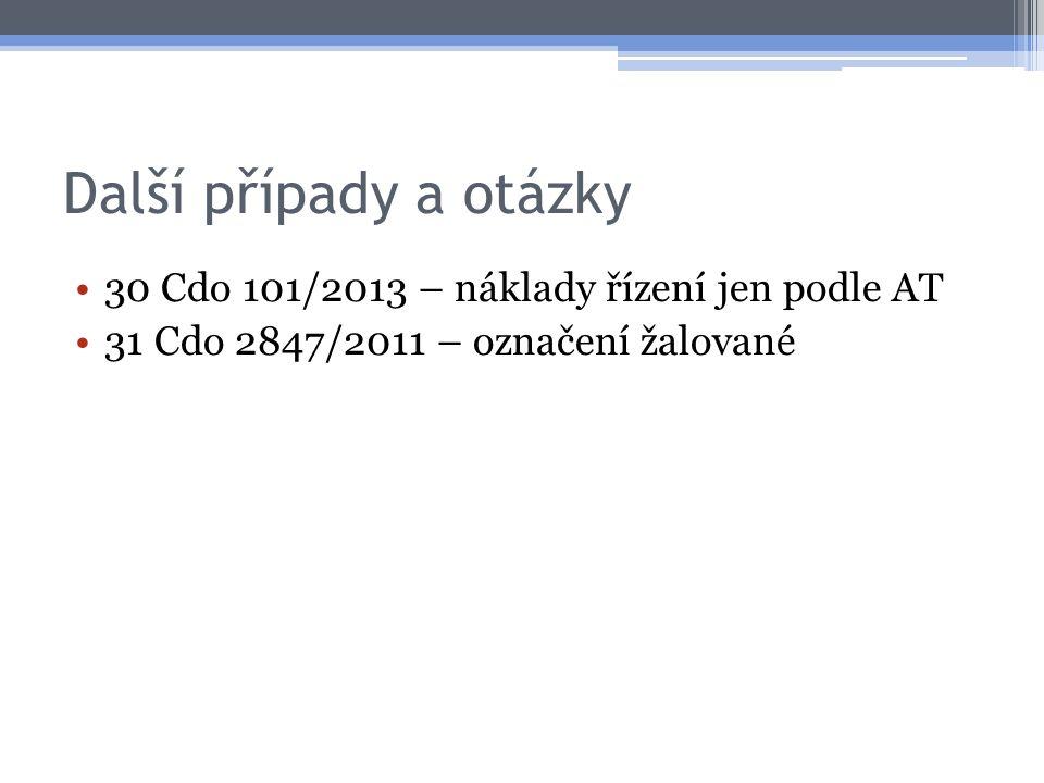 Další případy a otázky 30 Cdo 101/2013 – náklady řízení jen podle AT 31 Cdo 2847/2011 – označení žalované