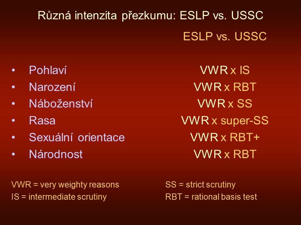 Různá intenzita přezkumu: ESLP vs.
