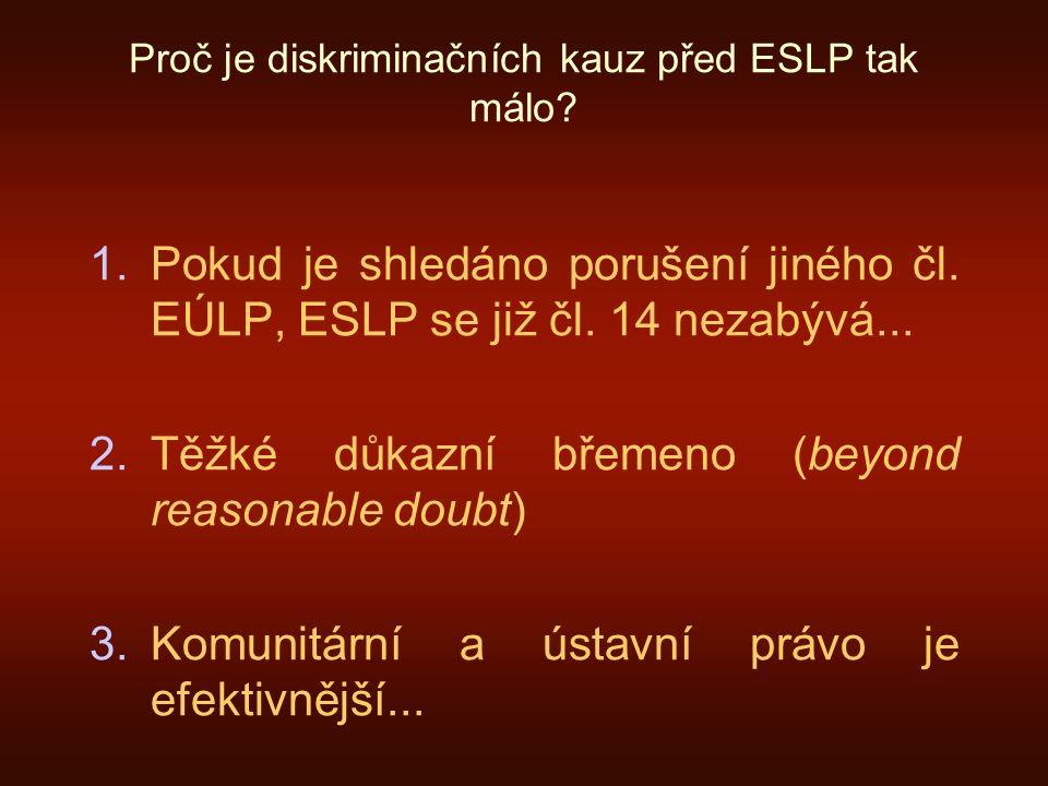 Proč je diskriminačních kauz před ESLP tak málo. 1.Pokud je shledáno porušení jiného čl.