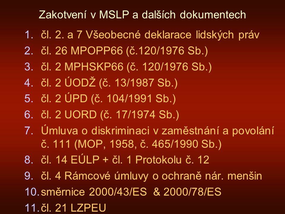 Zakotvení v MSLP a dalších dokumentech 1.čl. 2. a 7 Všeobecné deklarace lidských práv 2.čl.