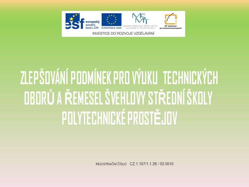 REGISTRAČNÍ ČÍSLO CZ.1.107/1.1.26 / 02.0010