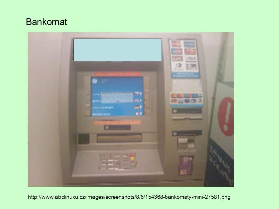 Bankomat je vybaven - čtečkou karet - displejem - numerickou klávesnicí - zařízením pro výstup bankovek - řídicí jednotkou - tiskárnou potvrzenek -kazetou s bankovkami (bankomat přesně ví, kolik bankovek jaké nominální hodnoty má, aby je mohl vydávat) -většina současných bankomatů má i zvukový výstup, kterým signalizuje pokyn pro výběr hotovosti nebo poruchu