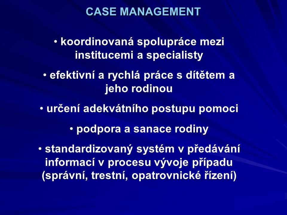 koordinovaná spolupráce mezi institucemi a specialisty efektivní a rychlá práce s dítětem a jeho rodinou určení adekvátního postupu pomoci podpora a sanace rodiny standardizovaný systém v předávání informací v procesu vývoje případu (správní, trestní, opatrovnické řízení) CASE MANAGEMENT