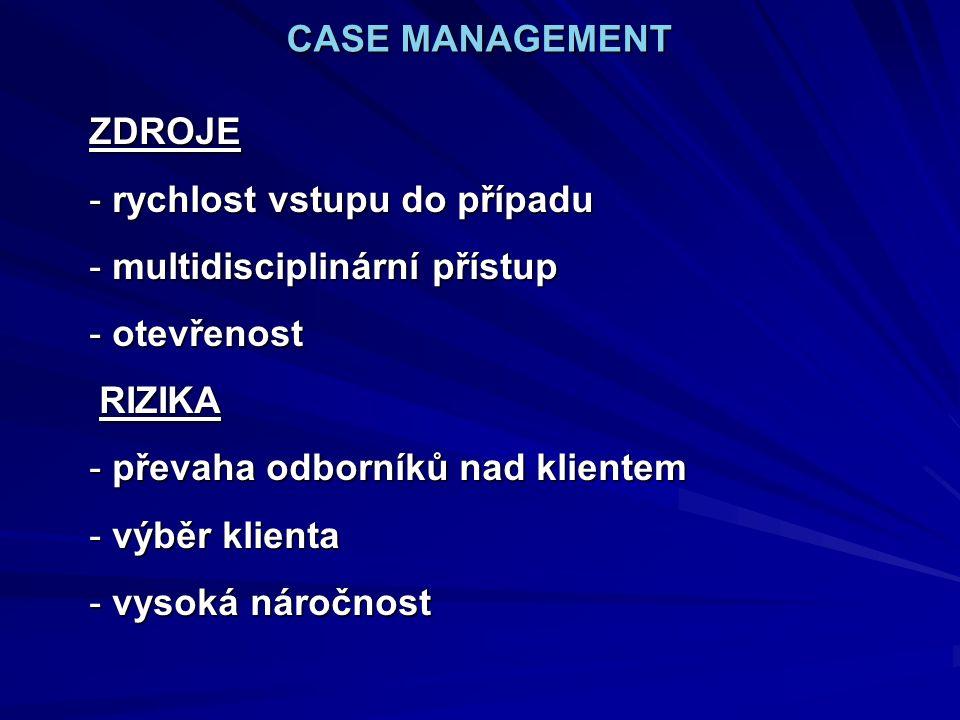 CASE MANAGEMENT ZDROJE - rychlost vstupu do případu - multidisciplinární přístup - otevřenost RIZIKA RIZIKA - převaha odborníků nad klientem - výběr klienta - vysoká náročnost
