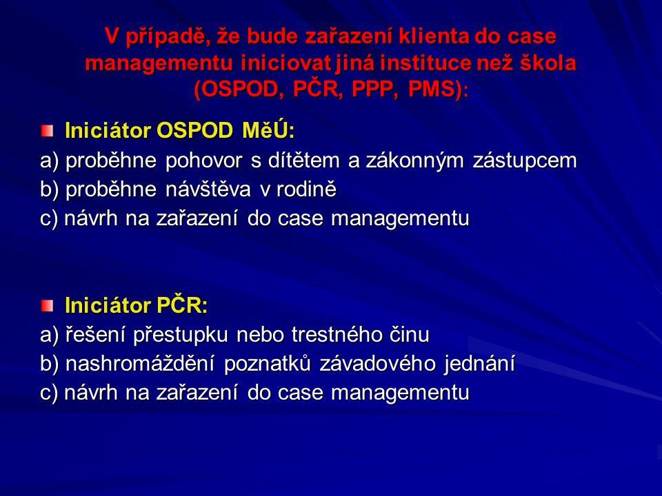 V případě, že bude zařazení klienta do case managementu iniciovat jiná instituce než škola (OSPOD, PČR, PPP, PMS) : Iniciátor OSPOD MěÚ: a) proběhne pohovor s dítětem a zákonným zástupcem b) proběhne návštěva v rodině c) návrh na zařazení do case managementu Iniciátor PČR: a) řešení přestupku nebo trestného činu b) nashromáždění poznatků závadového jednání c) návrh na zařazení do case managementu