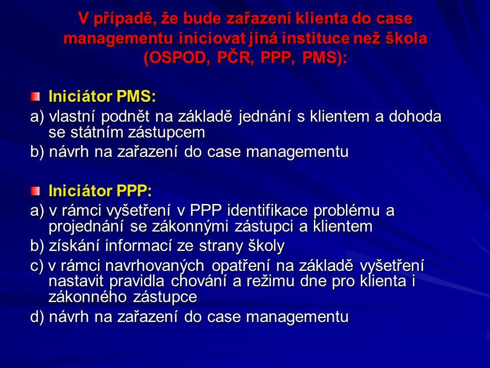 V případě, že bude zařazení klienta do case managementu iniciovat jiná instituce než škola (OSPOD, PČR, PPP, PMS): Iniciátor PMS: a) vlastní podnět na základě jednání s klientem a dohoda se státním zástupcem b) návrh na zařazení do case managementu Iniciátor PPP: a) v rámci vyšetření v PPP identifikace problému a projednání se zákonnými zástupci a klientem b) získání informací ze strany školy c) v rámci navrhovaných opatření na základě vyšetření nastavit pravidla chování a režimu dne pro klienta i zákonného zástupce d) návrh na zařazení do case managementu