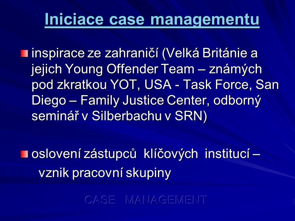 Iniciace case managementu inspirace ze zahraničí (Velká Británie a jejich Young Offender Team – známých pod zkratkou YOT, USA - Task Force, San Diego – Family Justice Center, odborný seminář v Silberbachu v SRN) oslovení zástupců klíčových institucí – vznik pracovní skupiny vznik pracovní skupiny