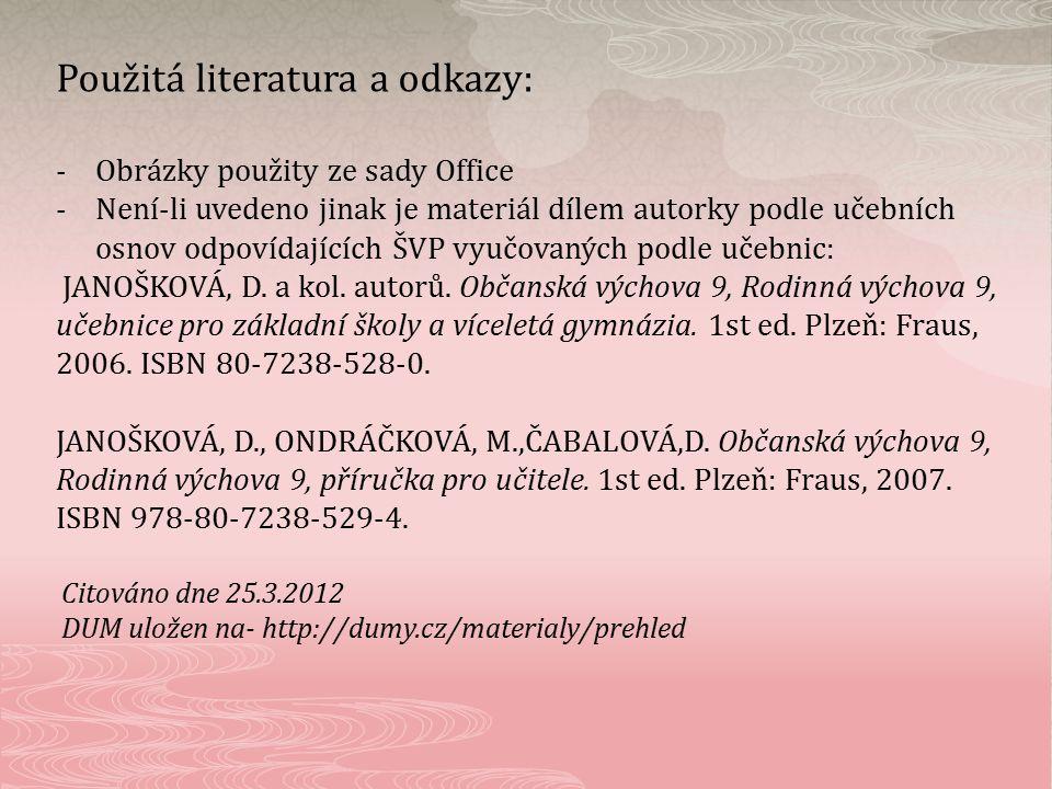 Použitá literatura a odkazy: -Obrázky použity ze sady Office -Není-li uvedeno jinak je materiál dílem autorky podle učebních osnov odpovídajících ŠVP