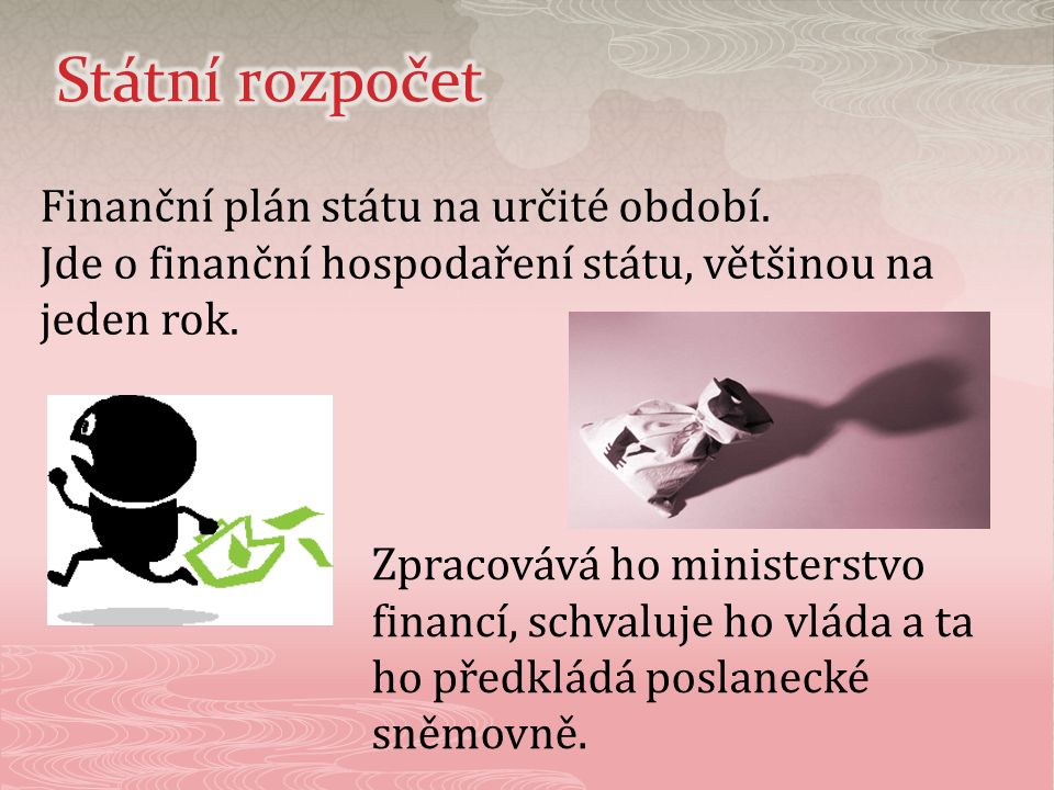 Finanční plán státu na určité období. Jde o finanční hospodaření státu, většinou na jeden rok. Zpracovává ho ministerstvo financí, schvaluje ho vláda