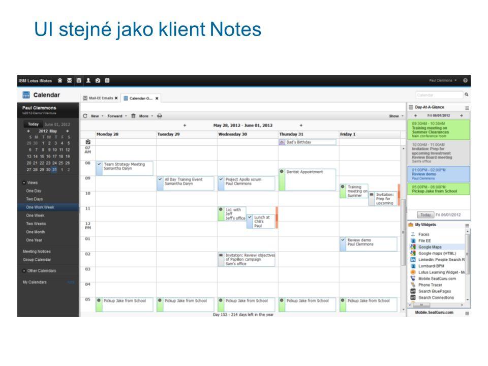 UI stejné jako klient Notes