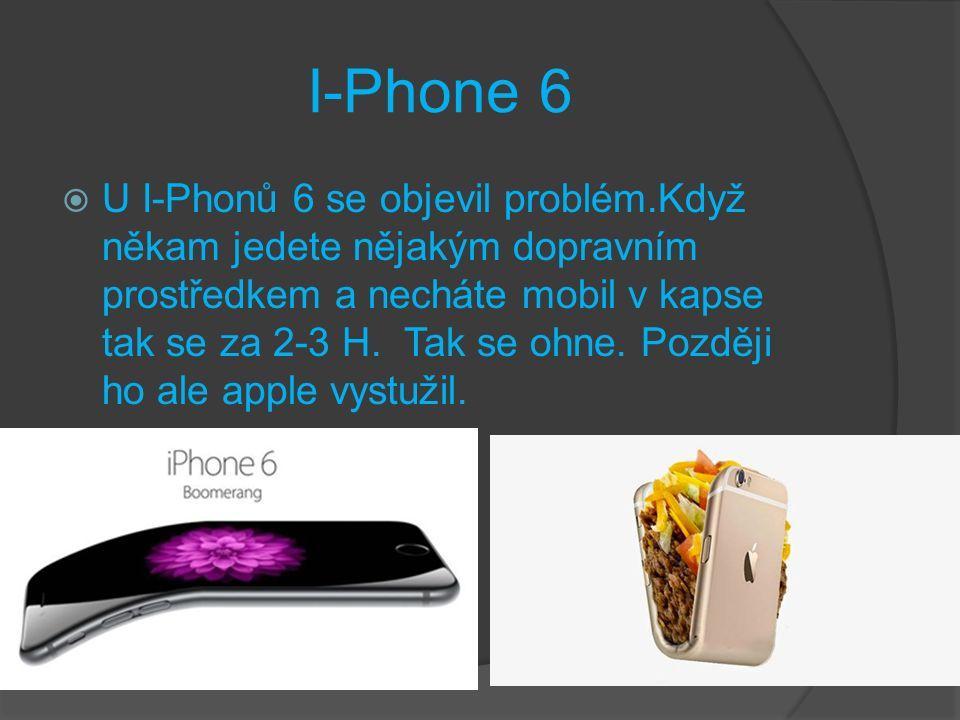 I-Phone 6  U I-Phonů 6 se objevil problém.Když někam jedete nějakým dopravním prostředkem a necháte mobil v kapse tak se za 2-3 H.