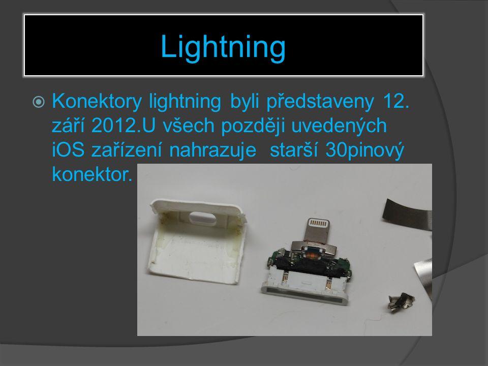Lightning  Konektory lightning byli představeny 12.