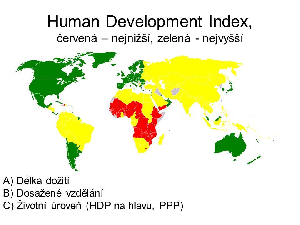 Human Development Index, červená – nejnižší, zelená - nejvyšší A) Délka dožití B) Dosažené vzdělání C) Životní úroveň (HDP na hlavu, PPP)