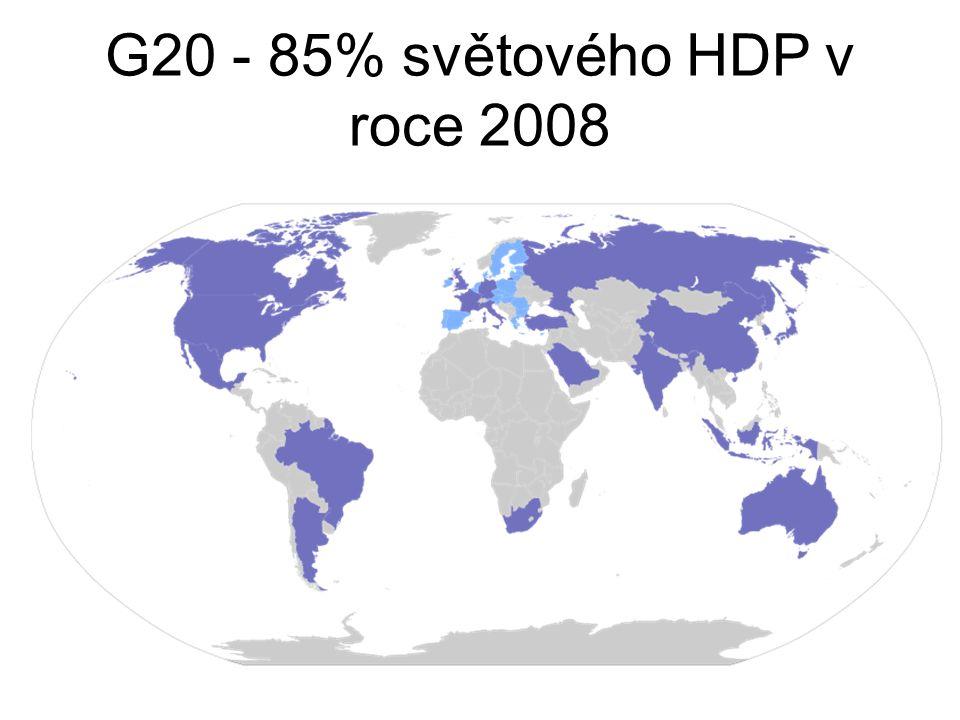 G20 - 85% světového HDP v roce 2008
