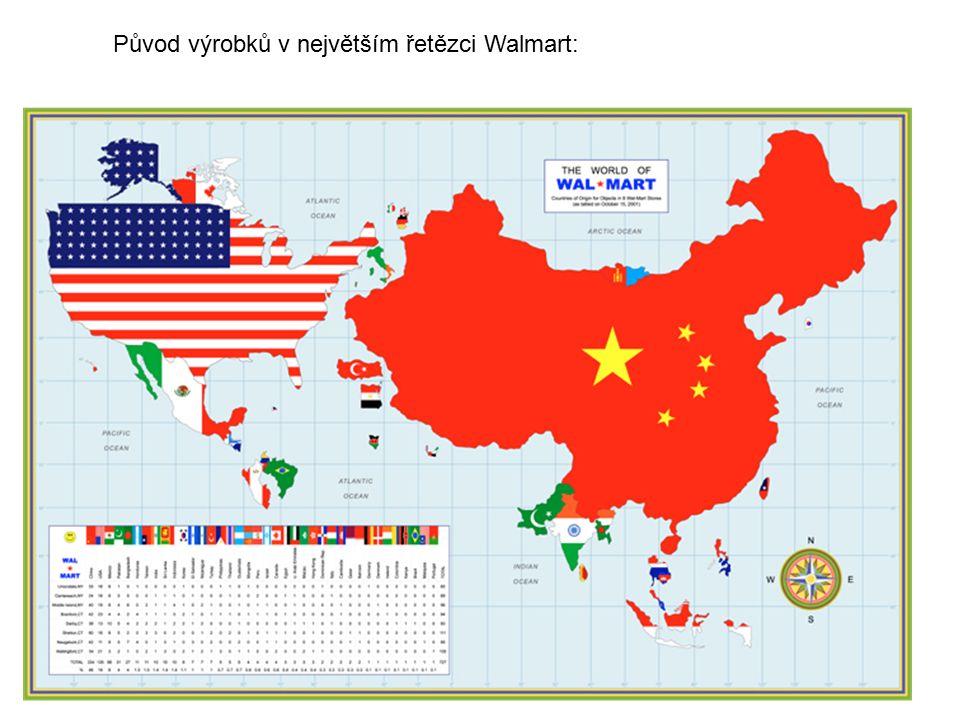 Původ výrobků v největším řetězci Walmart: