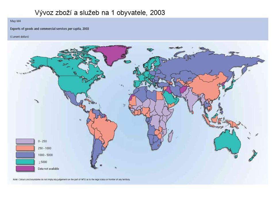 Vývoz zboží a služeb na 1 obyvatele, 2003