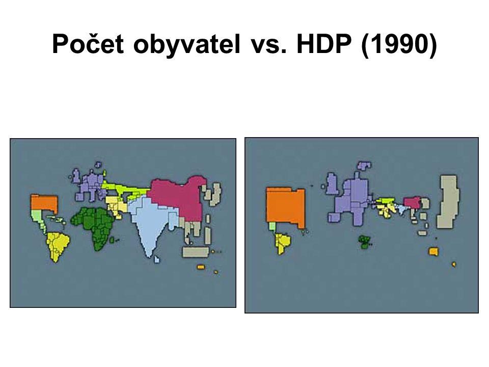 Počet obyvatel vs. HDP (1990)