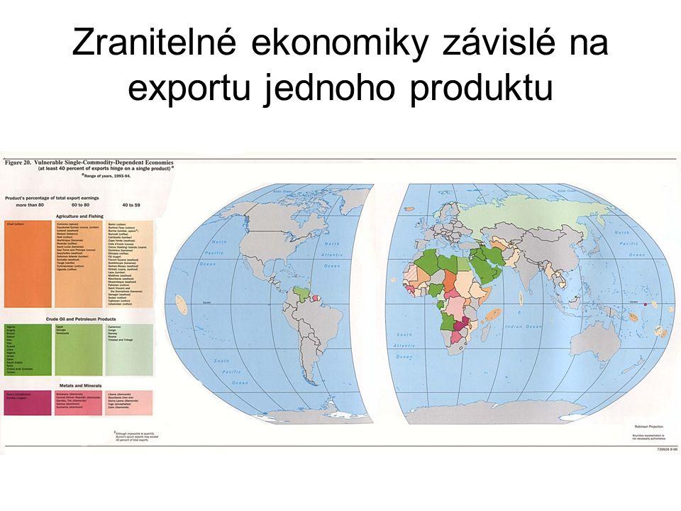 Zranitelné ekonomiky závislé na exportu jednoho produktu