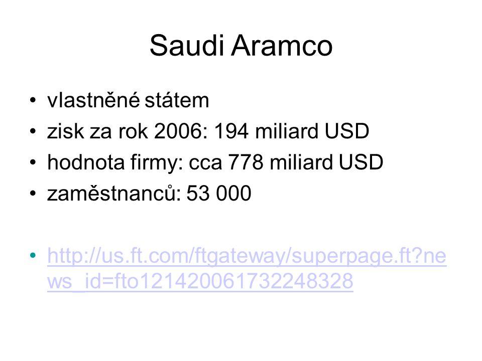 Saudi Aramco vlastněné státem zisk za rok 2006: 194 miliard USD hodnota firmy: cca 778 miliard USD zaměstnanců: 53 000 http://us.ft.com/ftgateway/superpage.ft?ne ws_id=fto121420061732248328http://us.ft.com/ftgateway/superpage.ft?ne ws_id=fto121420061732248328