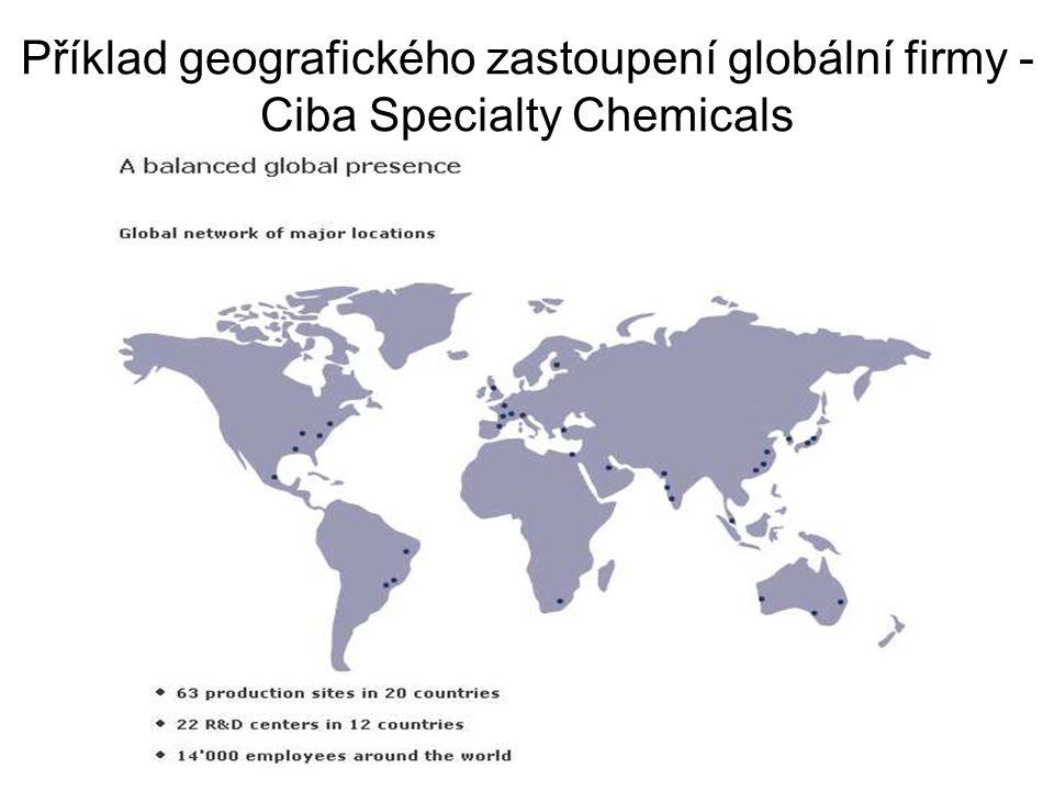 Příklad geografického zastoupení globální firmy - Ciba Specialty Chemicals
