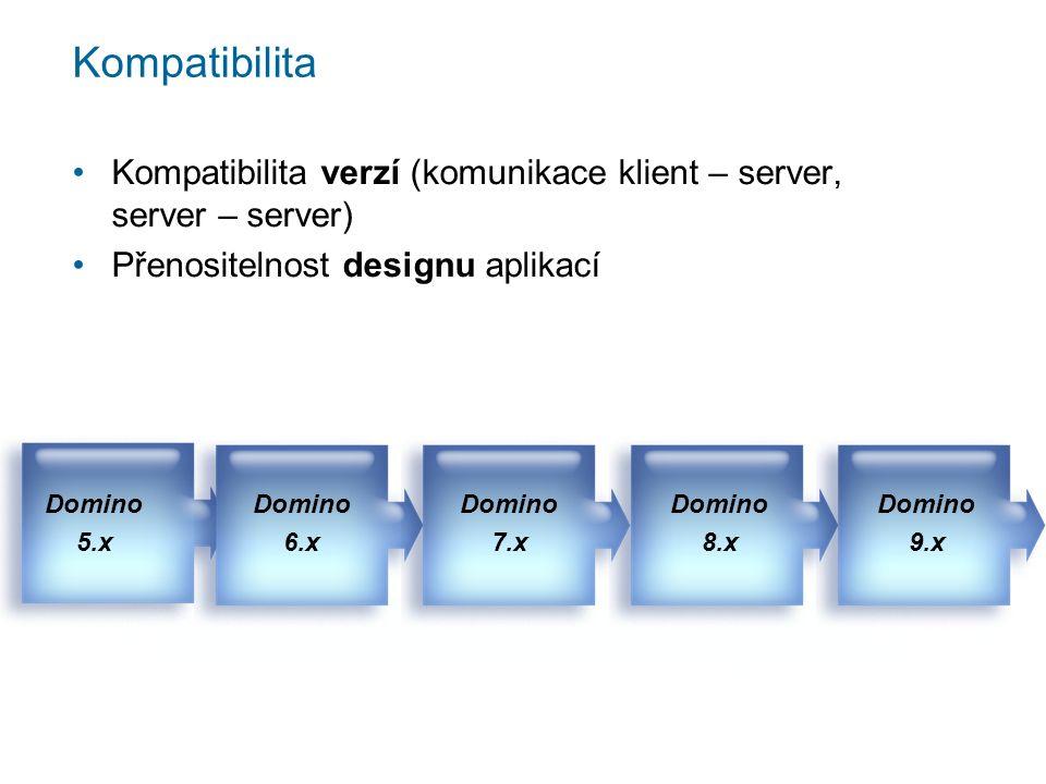 Kompatibilita Kompatibilita verzí (komunikace klient – server, server – server) Přenositelnost designu aplikací Domino 8.x Domino 9.x Domino 5.x Domin
