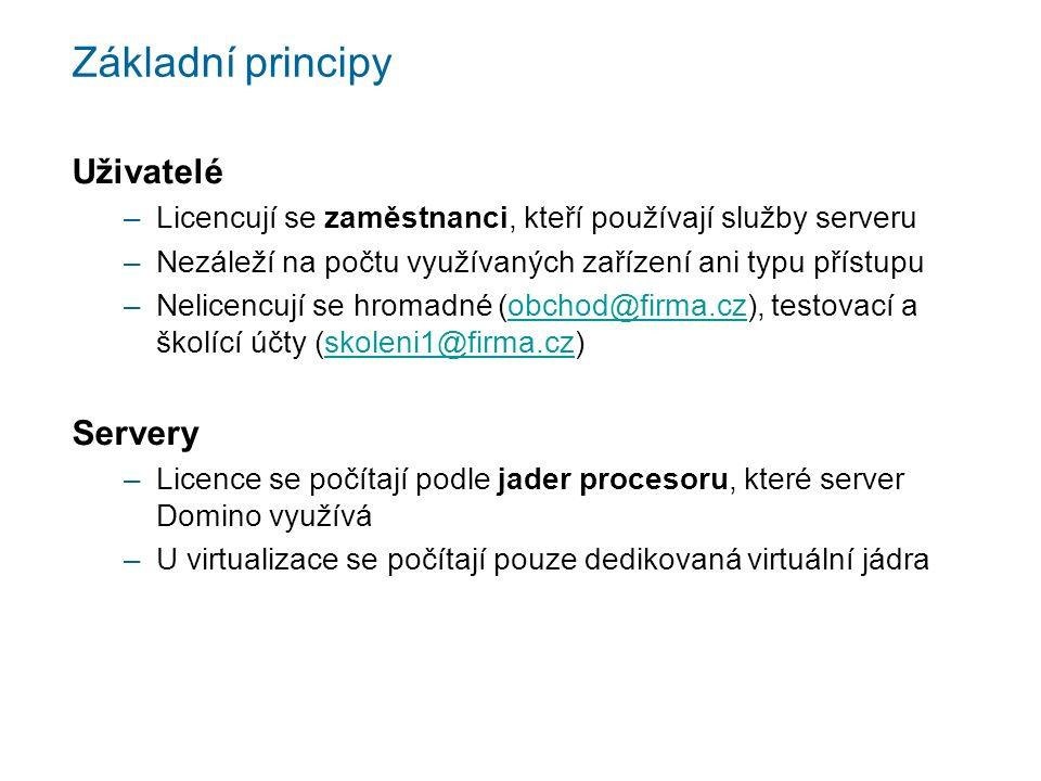 Základní principy Uživatelé –Licencují se zaměstnanci, kteří používají služby serveru –Nezáleží na počtu využívaných zařízení ani typu přístupu –Nelicencují se hromadné (obchod@firma.cz), testovací a školící účty (skoleni1@firma.cz)obchod@firma.czskoleni1@firma.cz Servery –Licence se počítají podle jader procesoru, které server Domino využívá –U virtualizace se počítají pouze dedikovaná virtuální jádra