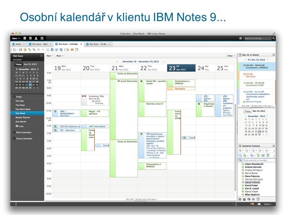 Osobní kalendář v klientu IBM Notes 9...