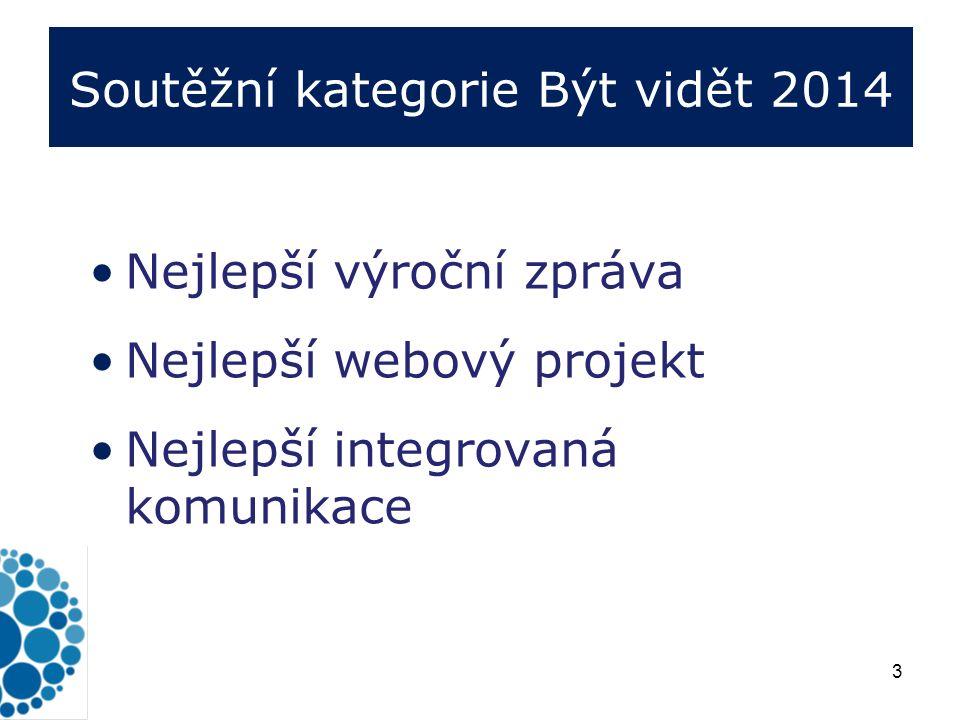 3 Soutěžní kategorie Být vidět 2014 Nejlepší výroční zpráva Nejlepší webový projekt Nejlepší integrovaná komunikace