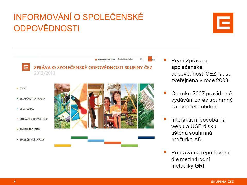 4  První Zpráva o společenské odpovědnosti ČEZ, a. s., zveřejněna v roce 2003.  Od roku 2007 pravidelné vydávání zpráv souhrnně za dvouleté období.