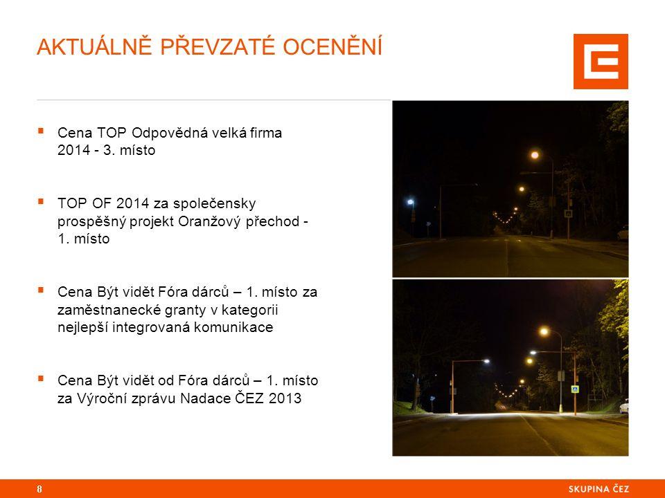 8 AKTUÁLNĚ PŘEVZATÉ OCENĚNÍ  Cena TOP Odpovědná velká firma 2014 - 3. místo  TOP OF 2014 za společensky prospěšný projekt Oranžový přechod - 1. míst