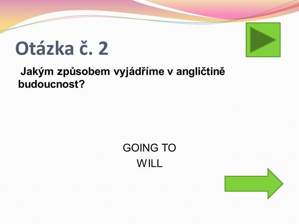 Otázka č. 2 Jakým způsobem vyjádříme v angličtině budoucnost GOING TO WILL