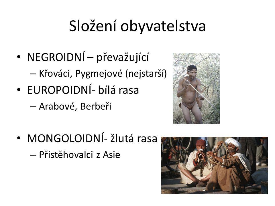 Složení obyvatelstva NEGROIDNÍ – převažující – Křováci, Pygmejové (nejstarší) EUROPOIDNÍ- bílá rasa – Arabové, Berbeři MONGOLOIDNÍ- žlutá rasa – Přistěhovalci z Asie