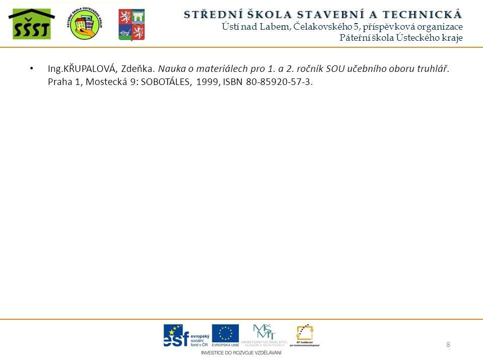 Ing.KŘUPALOVÁ, Zdeňka. Nauka o materiálech pro 1. a 2. ročník SOU učebního oboru truhlář. Praha 1, Mostecká 9: SOBOTÁLES, 1999, ISBN 80-85920-57-3. 8