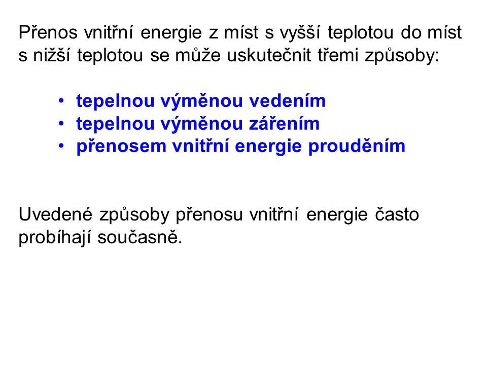 a)Tepelná výměna vedením (vedení tepla) Při zahřívání jednoho konce tyče např.