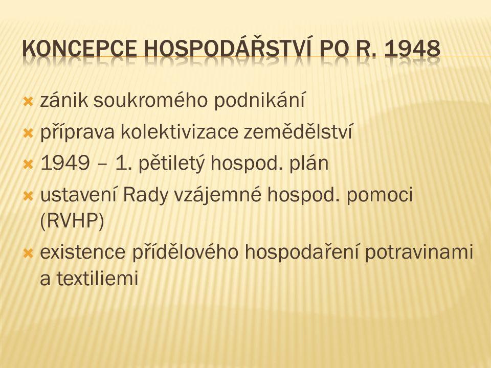  zánik soukromého podnikání  příprava kolektivizace zemědělství  1949 – 1. pětiletý hospod. plán  ustavení Rady vzájemné hospod. pomoci (RVHP)  e