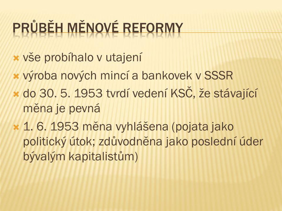  vše probíhalo v utajení  výroba nových mincí a bankovek v SSSR  do 30. 5. 1953 tvrdí vedení KSČ, že stávající měna je pevná  1. 6. 1953 měna vyhl