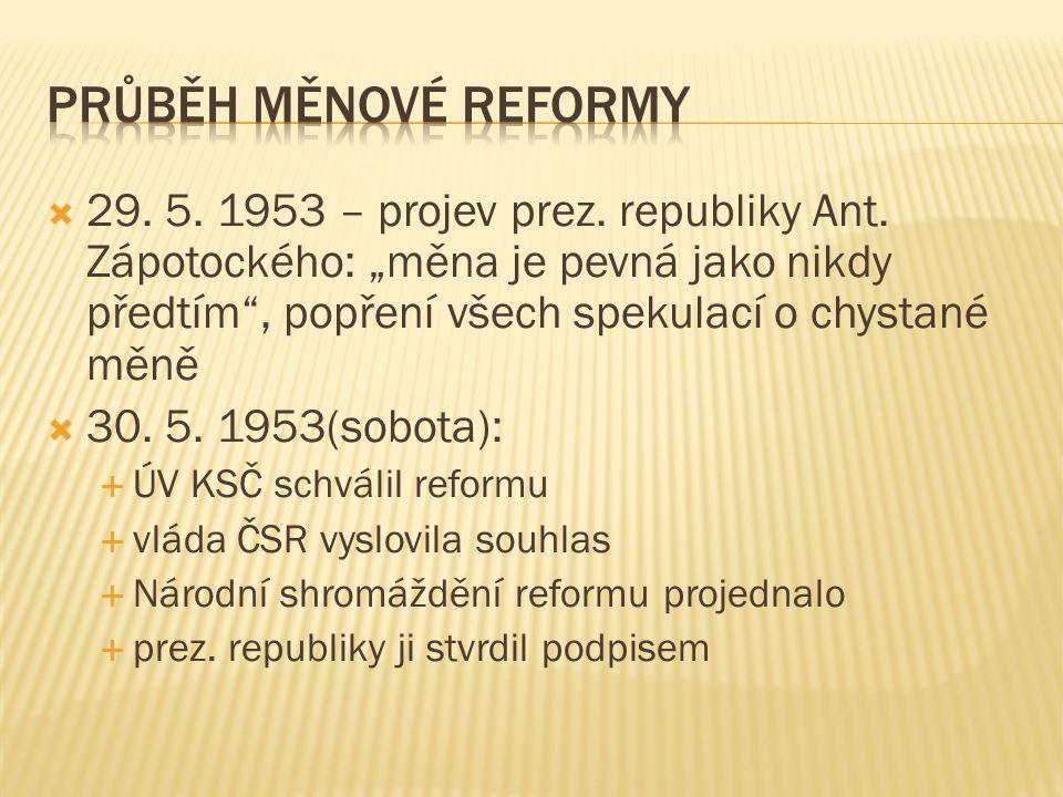 """ 29. 5. 1953 – projev prez. republiky Ant. Zápotockého: """"měna je pevná jako nikdy předtím"""", popření všech spekulací o chystané měně  30. 5. 1953(sob"""