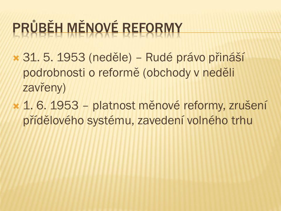  31. 5. 1953 (neděle) – Rudé právo přináší podrobnosti o reformě (obchody v neděli zavřeny)  1. 6. 1953 – platnost měnové reformy, zrušení přídělové