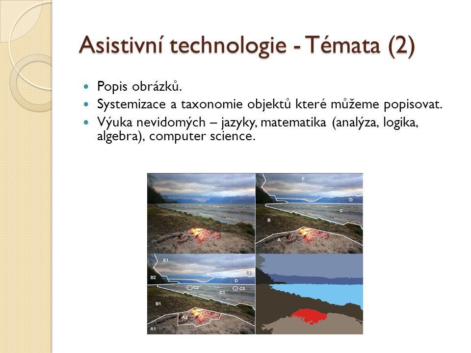 Asistivní technologie - Témata (2) Popis obrázků. Systemizace a taxonomie objektů které můžeme popisovat. Výuka nevidomých – jazyky, matematika (analý