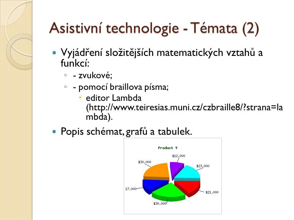 Asistivní technologie - Témata (2) Vyjádření složitějších matematických vztahů a funkcí: ◦ - zvukové; ◦ - pomocí braillova písma;  editor Lambda ( http://www.teiresias.muni.cz/czbraille8/ strana=la mbda).