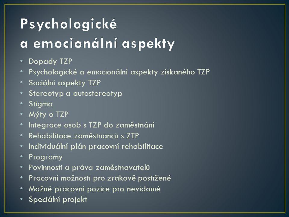 Dopady TZP Psychologické a emocionální aspekty získaného TZP Sociální aspekty TZP Stereotyp a autostereotyp Stigma Mýty o TZP Integrace osob s TZP do zaměstnání Rehabilitace zaměstnanců s ZTP Individuální plán pracovní rehabilitace Programy Povinnosti a práva zaměstnavatelů Pracovní možnosti pro zrakově postižené Možné pracovní pozice pro nevidomé Speciální projekt