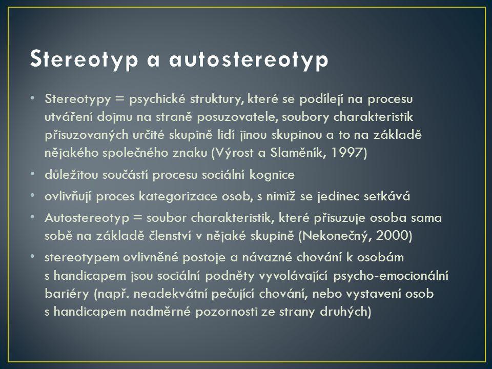Stereotypy = psychické struktury, které se podílejí na procesu utváření dojmu na straně posuzovatele, soubory charakteristik přisuzovaných určité skupině lidí jinou skupinou a to na základě nějakého společného znaku (Výrost a Slaměník, 1997) důležitou součástí procesu sociální kognice ovlivňují proces kategorizace osob, s nimiž se jedinec setkává Autostereotyp = soubor charakteristik, které přisuzuje osoba sama sobě na základě členství v nějaké skupině (Nekonečný, 2000) stereotypem ovlivněné postoje a návazné chování k osobám s handicapem jsou sociální podněty vyvolávající psycho-emocionální bariéry (např.