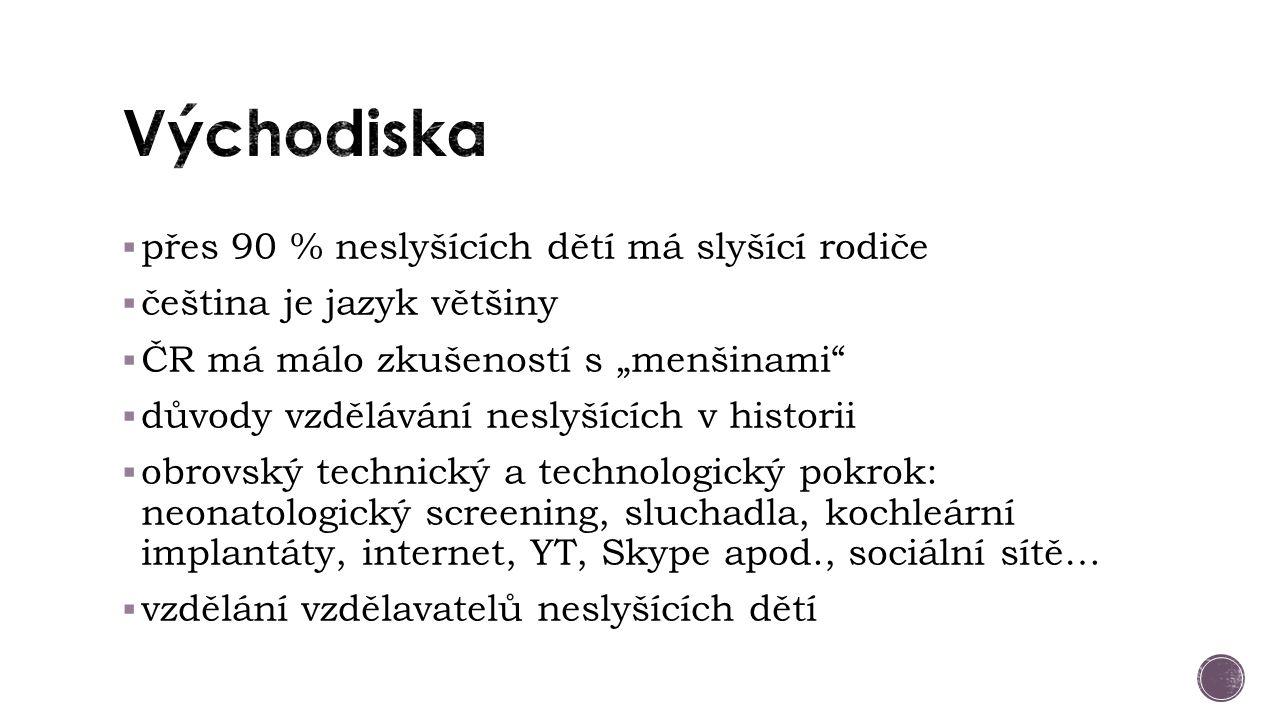 """ přes 90 % neslyšících dětí má slyšící rodiče  čeština je jazyk většiny  ČR má málo zkušeností s """"menšinami  důvody vzdělávání neslyšících v historii  obrovský technický a technologický pokrok: neonatologický screening, sluchadla, kochleární implantáty, internet, YT, Skype apod., sociální sítě…  vzdělání vzdělavatelů neslyšících dětí"""