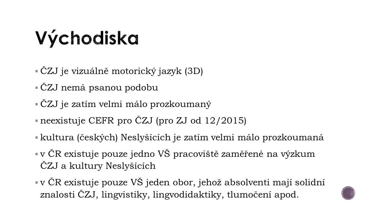  ČZJ je vizuálně motorický jazyk (3D)  ČZJ nemá psanou podobu  ČZJ je zatím velmi málo prozkoumaný  neexistuje CEFR pro ČZJ (pro ZJ od 12/2015)  kultura (českých) Neslyšících je zatím velmi málo prozkoumaná  v ČR existuje pouze jedno VŠ pracoviště zaměřené na výzkum ČZJ a kultury Neslyšících  v ČR existuje pouze VŠ jeden obor, jehož absolventi mají solidní znalosti ČZJ, lingvistiky, lingvodidaktiky, tlumočení apod.
