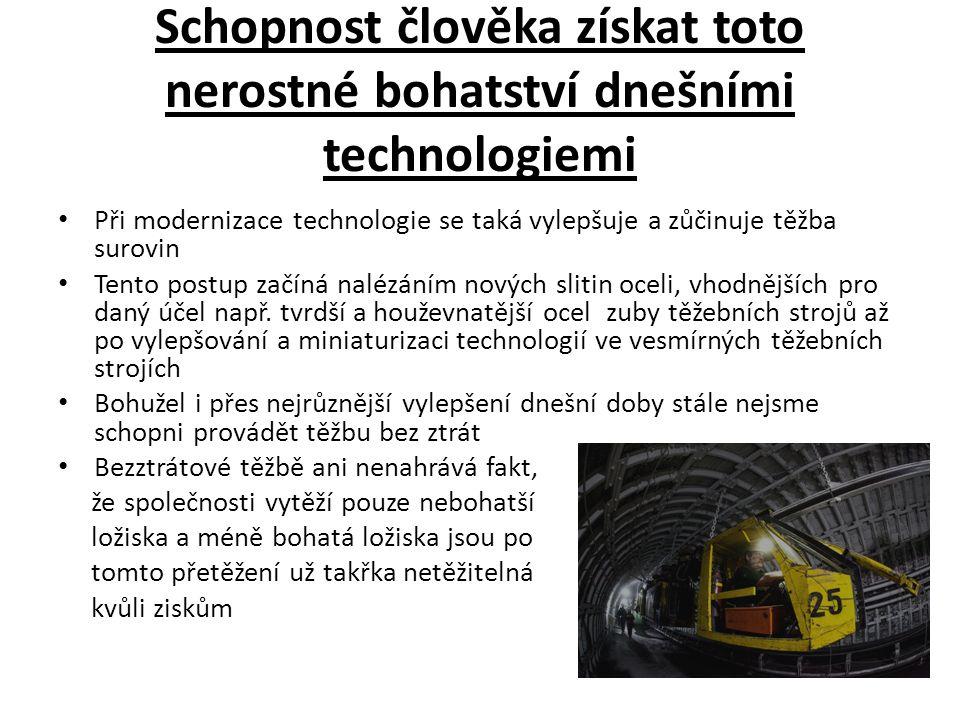 Schopnost člověka získat toto nerostné bohatství dnešními technologiemi Při modernizace technologie se taká vylepšuje a zůčinuje těžba surovin Tento p