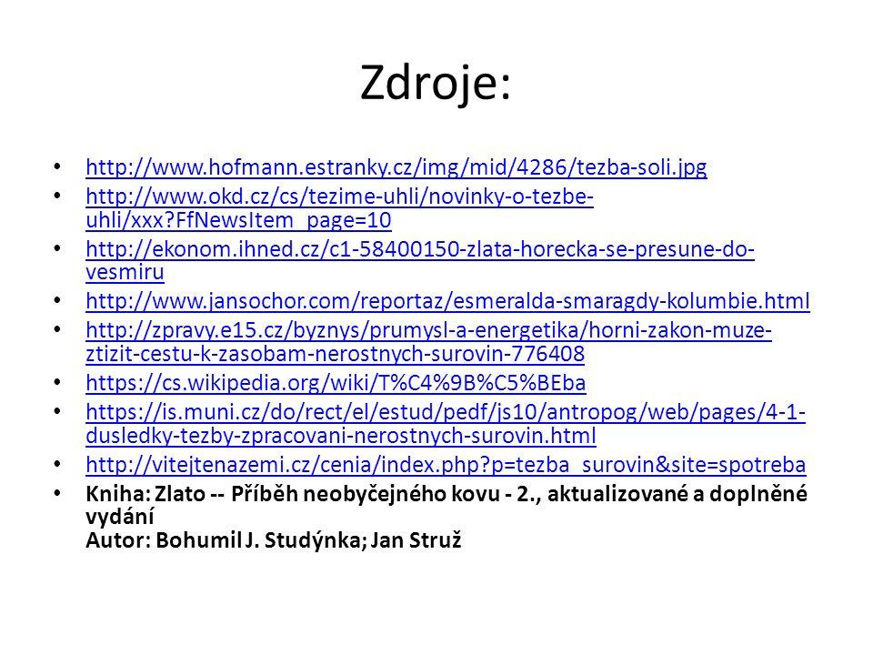 Zdroje: http://www.hofmann.estranky.cz/img/mid/4286/tezba-soli.jpg http://www.okd.cz/cs/tezime-uhli/novinky-o-tezbe- uhli/xxx?FfNewsItem_page=10 http: